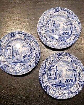 Spode Blue Italian -Lot of 3 BREAD PLATES or DESSERT DISHES English China 6 1/4""