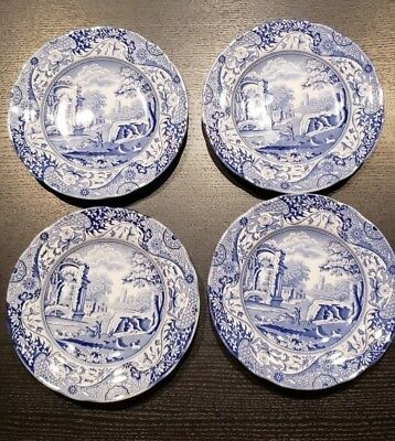 Spode Blue Italian -Lot of 4 BREAD PLATES or DESSERT DISHES English China 6 1/4""