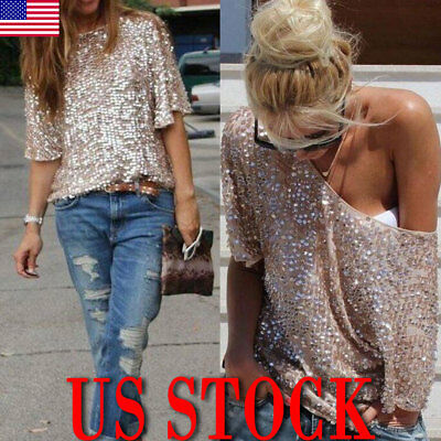 5cf2a9ab987 Ladies Sloping Shoulder Glistening Sequin Slim Shirt Tops Blouses Women T  Shirts