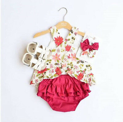 USA 2PCS Baby Girls Summer Floral Clothes Tops T-shirt+Skirts Pants Outfits Set