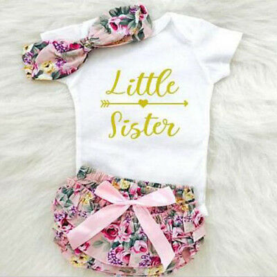 Newborn Baby Girl Clothes Romper Bodysuit+Flower TuTu Pants Headband Outfits US