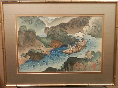 OLD ANTIQUE Listed Japanese Artist WOODBLOCK Fine Art vintage artwork Framed $$