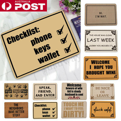 AU Letter Funny Welcome Home Entrance Floor Rug Non-slip Doormat Carpet Door Mat