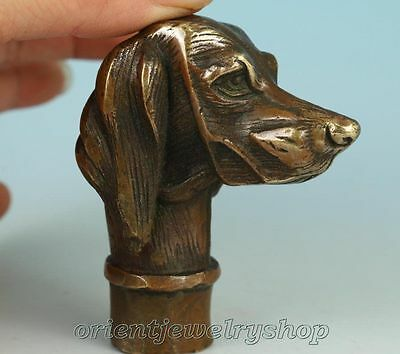 Old Bronze Dog Collect Statue Walking Stick Head