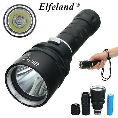 Elfeland Waterproof 10000Lm T6 LED Scuba Diving Flashlight Torch Underwater