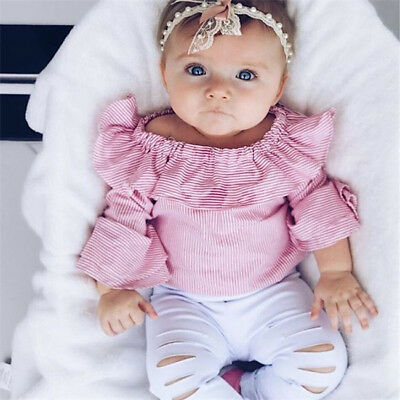 Newborn Kids Baby Girls Tops Romper Bodysuit Ripped Pants Outfit Clothes Set USA