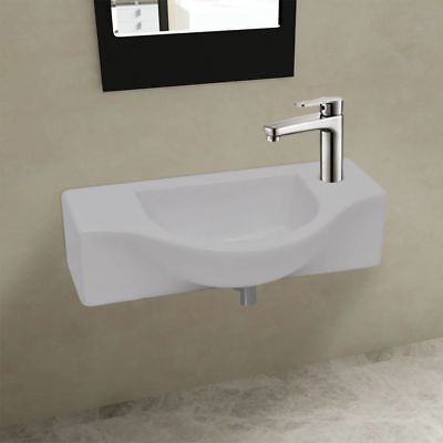 Bathroom Basin with Faucet Hole Ceramic White
