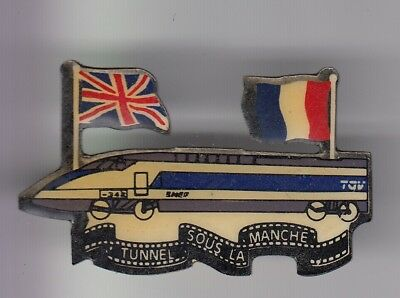 Rare Pins Pin's ..  Train Railways Sncf Tgv Eurostar Tunnel Manche U.k France~Ea