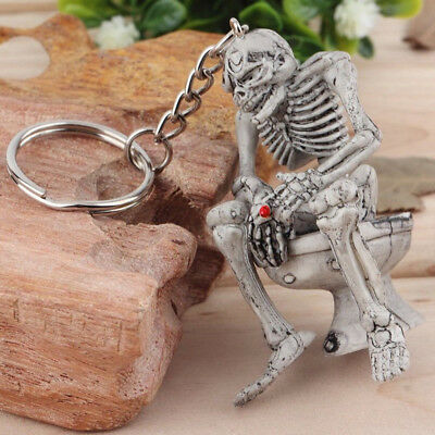 1x Vogue Keychain Key Chain Car Keyring Rubber Creative Unisex Skull Toilet Gift