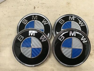 4x Blue Carbon Fibre BMW Alloy Wheel Hub Centre Caps Badges Set 68mm 5 Pin
