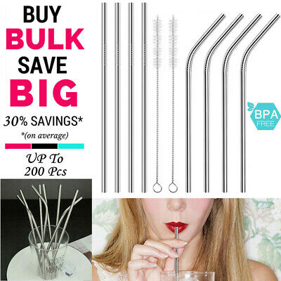 BULKSALE Stainless Steel Metal Drinking Straws Straight/Bent Reusable Washable