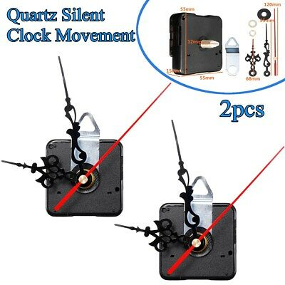 2Pcs Black&Red Hands Wall Quartz Silent Clock Movement Mechanism DIY Repair Kit