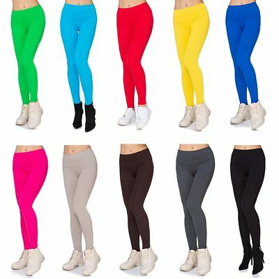 High Waisted Cotton Leggings with Pockets Womens Full Length Stretchy Pants LPK