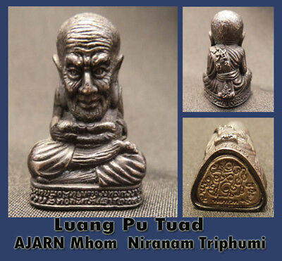 Real Thai Amulet Holy Luang Pu Tuad Strong Power luck ,protection By Aj Mom