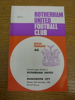 27/12/1965 Rotherham United v Manchester City  . Faults with this item should ha