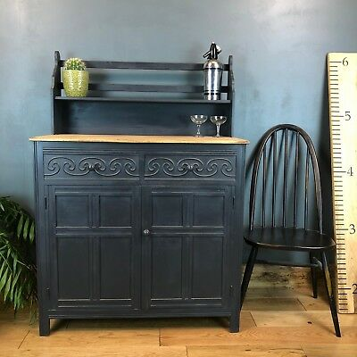 Vintage Court Cupboard Buffet Dresser Painted Sideboard Rustic Dark Boho