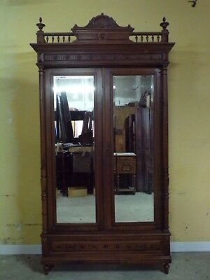 No Reserve HENRI II   hand carved   Walnut armoire C1890