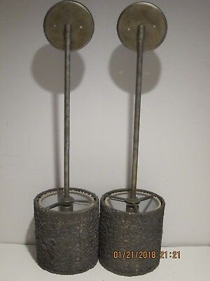 "Modern Antique Brass Mesh Drop Lights (2) 29.5"" Long Shade=7.5X8 Great Pre-Owned"
