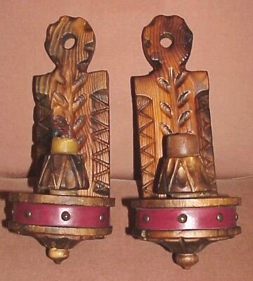 Vtg Spanish Revival Made In Spain Hand Carved Wood Gothic Candle Wall Sconces