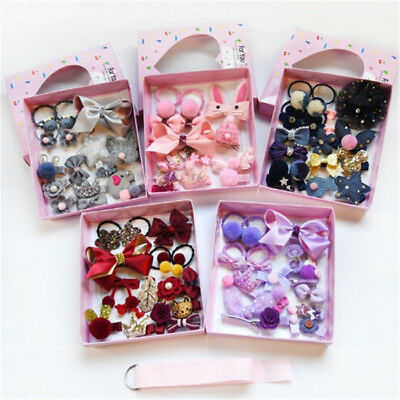 18Pcs Kids Infant Hairpin Baby Girls Bowknot Flowers Motifs Hair Clip Set S*