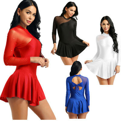 Women Long Sleeve Dance Costumes Ballroom Skating Dress Ballet Dance Gym Leotard