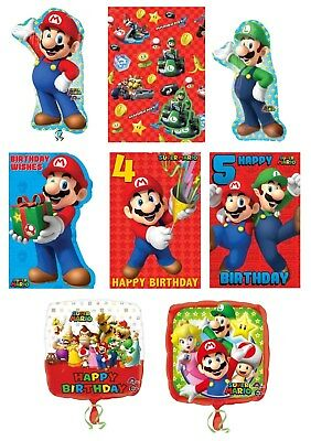 SUPER MARIO Bros Birthday Cards - Greetings Ages Party Bag Nintendo Gift Wrap 1C