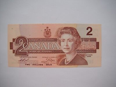1986 Bank of Canada Ottawa Canadian $2 Two Dollar Bill Note BUY1183594 CU