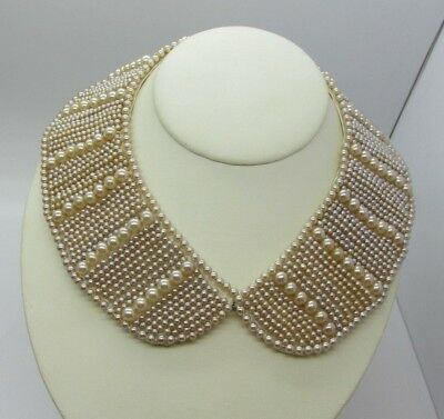 Vintage 1950s Heavy Champagne Pearl Collar Necklace Rockabilly Pin-up Nice One!