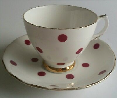 ROYAL VALE RED POLKA DOT CUP AND SAUCER c1962