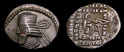 KINGS of PARTHIA Vologases I Second reign circa AD 58-77 AR Drachm Good VF  6514
