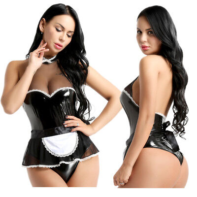 596da2097026 Womens Sexy French Maid Servant Costume Wet Look Bodysuit Fancy Dress  Roleplay