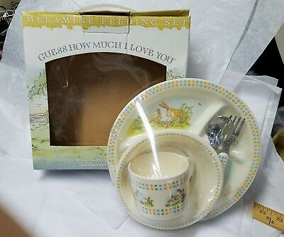 Guess How Much I Love You - CHILD'S FEEDING SET Cup Plate Bowl Silverware w/BOX