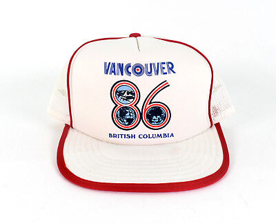 Vintage Expo 86 Trucker Hat - Vancouver 86 Puffy Images -Adult One Size Snapback