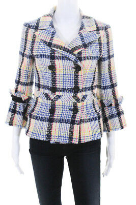 30abc3f5805 Chanel 09P Womens Double Breasted Pea Coat Multi Colored Tweed Knit Size  EUR 36