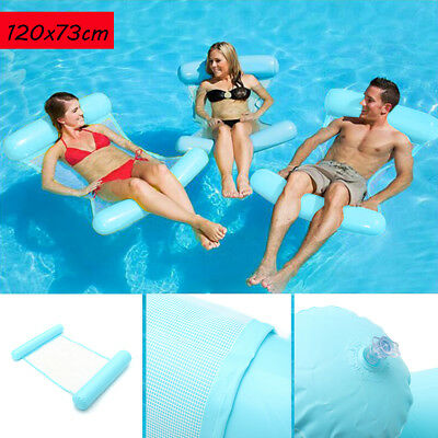 Inflatable Floating Water Hammock Swimming Pool Lounge Float Bed Chair Blue