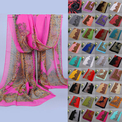 UK Soft Retro Womens Vintage Totem Pattern Chiffon Shawl Scarf Scarves Stole XYO