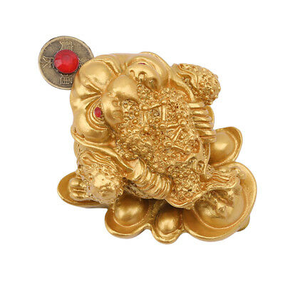 Fortune Lucky Coin Frog Money Toad Statue Figurine Resin Feng Shui Decor LG