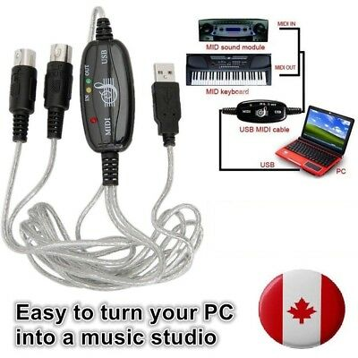 MIDI Interface USB IN OUT Converter Cable to PC Music Keyboard Adapter Cords CA