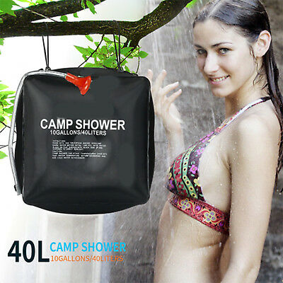 40L Solar Heated Water Camp Shower Bag Pipe Portable Camping Hiking Travel CA