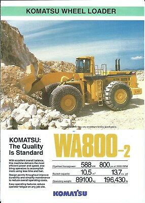 Equipment Brochure - Komatsu - WA800-2 - Wheel Loader - Mining - c1992 (E4962)