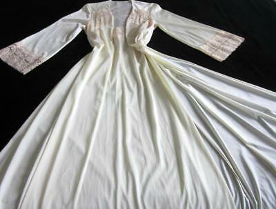 8c1ad7fb048 Vintage Long Silky Nylon Peignoir Set Ivory M Glam Lacy Nightgown + Robe NEW