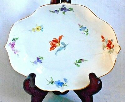 C19Th Meissen Hand Painted Dish With Sprays Of Flowers A/f