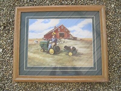 "John Deere Framed Picture/Print, 22.5""x 18.5""(frame), Good Used Condition"