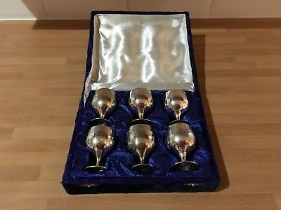 vintage silver plated boxed set of six small wine goblets