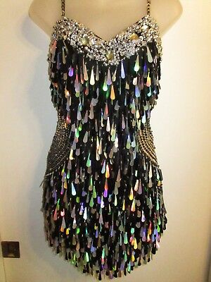 Custom Made Dress Heavy Sequin Beaded Dancer Dangle Holographic Silver Black