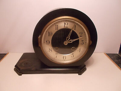 Vintage Art Deco Ebonised German 8 Day Mantel Clock Restoration Spares Repair