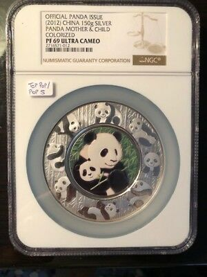 Very Rare! 2012  PF69 China 150g Silver Panda Mother & Child Colorized