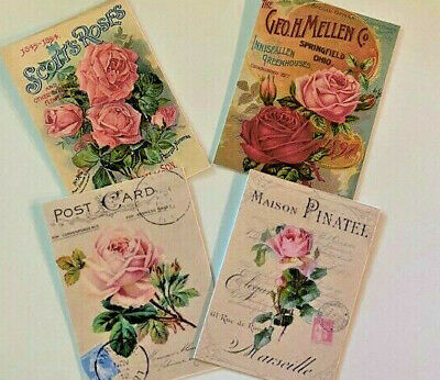 Vintage Shabby Style Roses CHRISTMAS Gift Tags//Die cuts~24 Tags 4 Styles