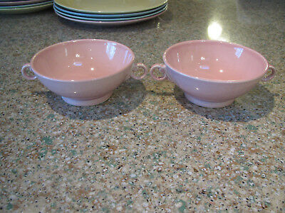 "1930-40's TS&T LuRay pastel Sharon Pink 2- 5"" D handled cream soup bowls-excond"