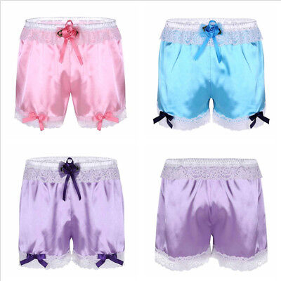 Sexy Men Sissy Frilly Lace Boxer Briefs Shorts Panties Crossdress Underwear
